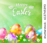 happy easter card with eggs ... | Shutterstock . vector #613745393