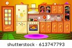 cartoon kitchen interior | Shutterstock .eps vector #613747793