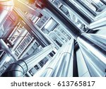 equipment  cables and piping as ... | Shutterstock . vector #613765817