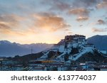 the potala palace in lhasa with ... | Shutterstock . vector #613774037