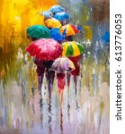 oil painting   rainy day | Shutterstock . vector #613776053