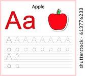 writing a z  alphabet ... | Shutterstock .eps vector #613776233