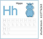 writing a z  alphabet ... | Shutterstock .eps vector #613776263