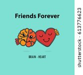 brain icon and heart vector... | Shutterstock .eps vector #613776623