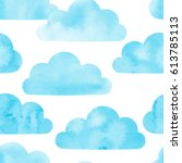 watercolor clouds seamless... | Shutterstock .eps vector #613785113