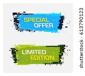 vector set of glitch banners... | Shutterstock .eps vector #613790123