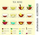 set of tea menu icons.... | Shutterstock .eps vector #613800623