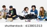 diverse students doing homework ... | Shutterstock . vector #613801313