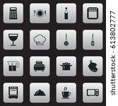 set of 16 editable kitchen... | Shutterstock .eps vector #613802777