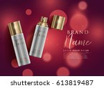 cosmetic product spray on red... | Shutterstock .eps vector #613819487