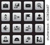 set of 16 editable office icons.... | Shutterstock .eps vector #613826687