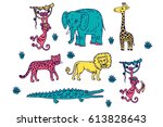 a collection of african animals. | Shutterstock .eps vector #613828643