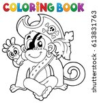 coloring book pirate monkey... | Shutterstock .eps vector #613831763