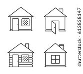 four house line icons  vector... | Shutterstock .eps vector #613838147