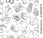 healthy fruit hand drawn... | Shutterstock .eps vector #613840073