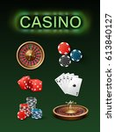 vector set of casino gambling... | Shutterstock .eps vector #613840127