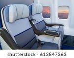 business class reclined seats... | Shutterstock . vector #613847363