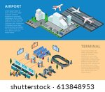 flat isometric airport  flying... | Shutterstock .eps vector #613848953