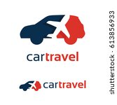 car travel logo template design | Shutterstock .eps vector #613856933