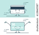 linear flat smiley credit card... | Shutterstock .eps vector #613860587