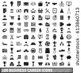 100 business career icons set... | Shutterstock .eps vector #613860713