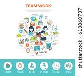 linear flat teamwork... | Shutterstock .eps vector #613860737