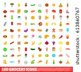 100 grocery icons set in... | Shutterstock .eps vector #613860767