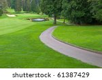 golf place with gorgeous green  ... | Shutterstock . vector #61387429