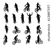 bicycle black set 03   Shutterstock .eps vector #613887557