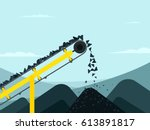 conveyor belt with coal. mining ... | Shutterstock .eps vector #613891817