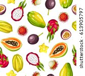 seamless pattern with exotic... | Shutterstock .eps vector #613905797