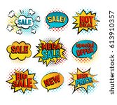 sale pop art vector set. big ... | Shutterstock .eps vector #613910357