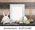 mock up blank frame. 3d... | Shutterstock . vector #613911683