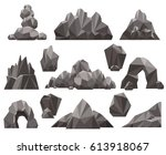 Cartoon 3d Rock And Stone Set...