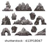 Cartoon 3d Rock And Stone Set...