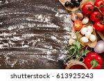 cooking pizza. pizza... | Shutterstock . vector #613925243