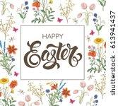 happy easter. tulip  dandelion  ... | Shutterstock .eps vector #613941437