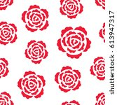 seamless pattern with red roses ... | Shutterstock .eps vector #613947317