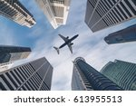 aircraft flying over city...