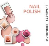 close up of nail polish with... | Shutterstock .eps vector #613959647