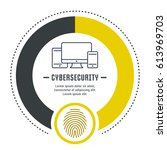 cybersecurity concept. symbols... | Shutterstock .eps vector #613969703