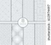 set of vector seamless patterns.... | Shutterstock .eps vector #613974497