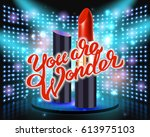 makeup red lipstick advertising ... | Shutterstock .eps vector #613975103