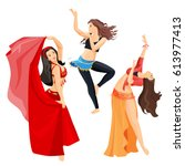belly dancers set of girls... | Shutterstock .eps vector #613977413