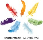 illustration with seven rainbow ... | Shutterstock .eps vector #613981793
