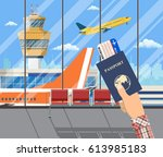 man with passport and boarding... | Shutterstock .eps vector #613985183