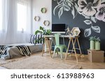 bright studio apartment with... | Shutterstock . vector #613988963