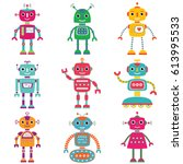 robots  vector set of nine... | Shutterstock .eps vector #613995533
