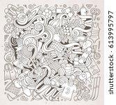 cartoon cute doodles hand drawn ... | Shutterstock .eps vector #613995797