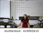 smiling attractive waitress...   Shutterstock . vector #614002613